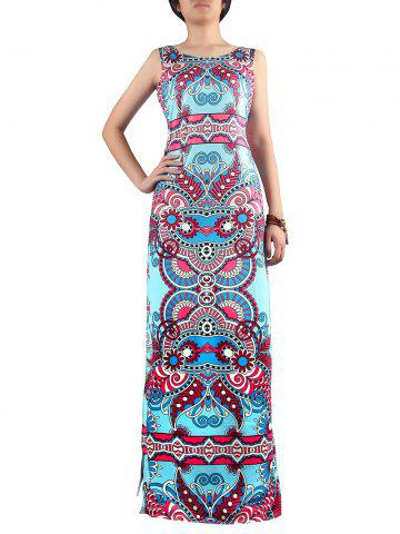 Affordable Scoop Neck Paisley Print Slit Dress