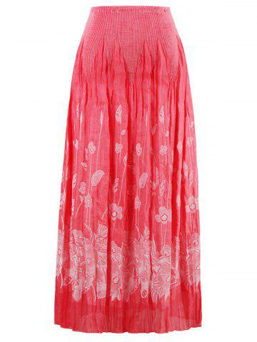 New Stretchy Flower Print Skirt WATERMELON RED ONE SIZE