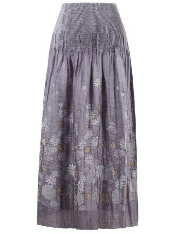Trendy Elastic Wasit Print Skirt GRAY ONE SIZE