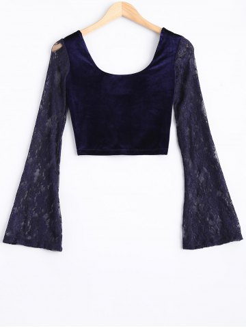 Best Lace Bell Sleeve Velvet Crop Top