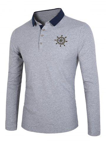 Buy Color Block Splicing Rudder Embroidery Long Sleeve Polo T-Shirt