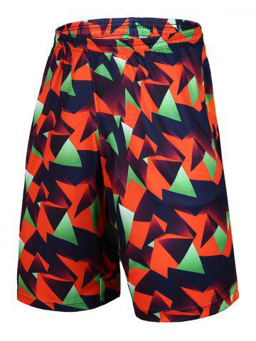 Cheap Color Block Geometric Print Elastic Waist Basketball Shorts