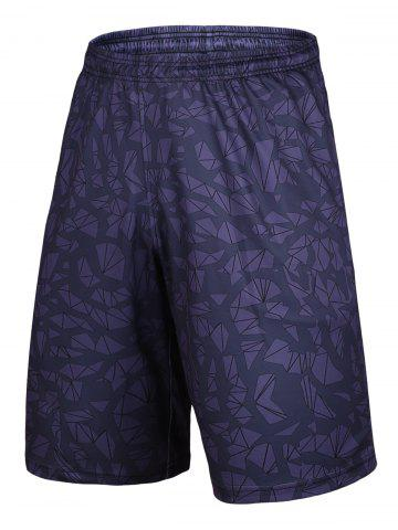 Latest Crushed Ice Printed Elastic Waist Basketball Shorts DEEP PURPLE XL