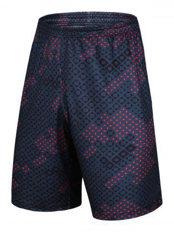 Buy Color Block Argyle Printed Elastic Waist Basketball Shorts