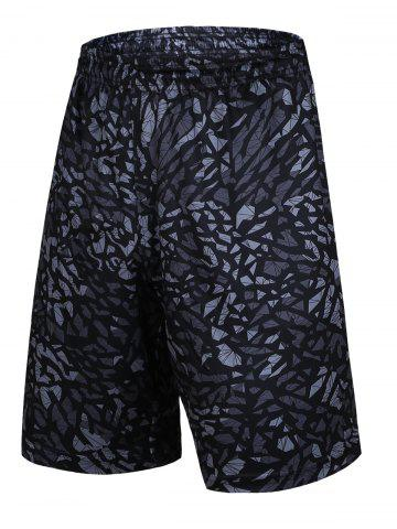 Store Crushed Ice Geometric Printed Elastic Waist Basketball Shorts