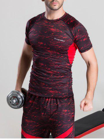 Quick-Dry Color Block Printed Splicing Design Short Sleeve T-Shirt - Red - M