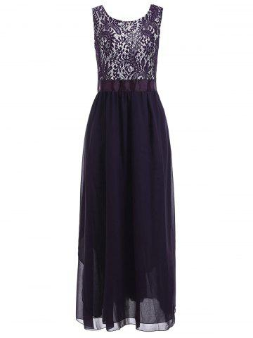 Shop Lace Panel Chiffon Long Evening Prom Dress