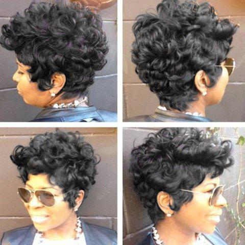 jet black pixie cut short fluffy curly real natural hair