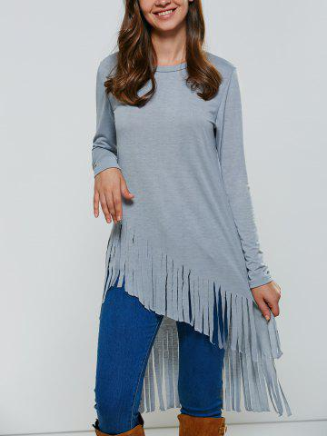 Affordable Fringed High Low T-Shirt