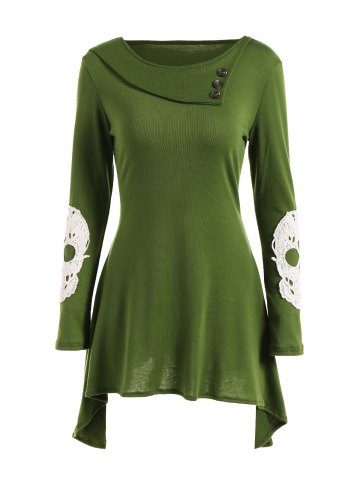 Shop Lace Insert Skull Mini Asymmetric Dress GREEN XL