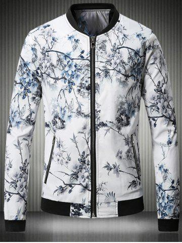 Affordable Stand Collar Plus Size 3D Flower Chinese Painting Print Jacket