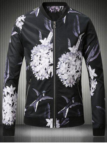 Outfits Stand Collar Plus Size 3D Flower and Bird Print Jacket