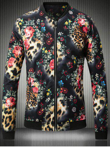 Affordable Stand Collar Plus Size 3D Flower and Leopard Print Jacket
