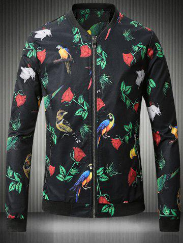 Outfits Stand Collar Plus Size 3D Rose and Bird Print Jacket