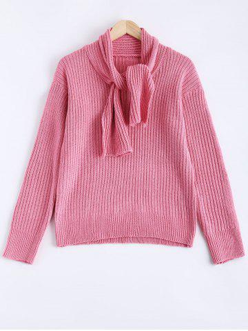 Fancy Ribbed Knotted Scarf Long Sleeve Sweater