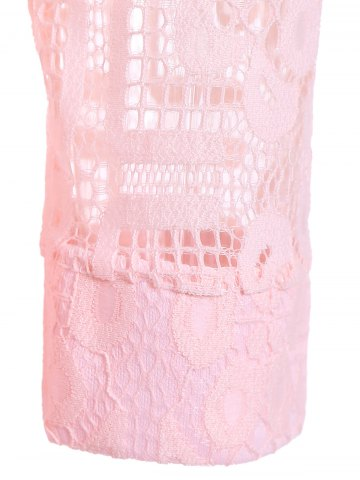 Chic Lace Mini Skater Short Dress with Sleeves - M PINK Mobile