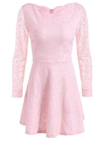 Trendy Lace Mini Skater Short Dress with Sleeves - M PINK Mobile