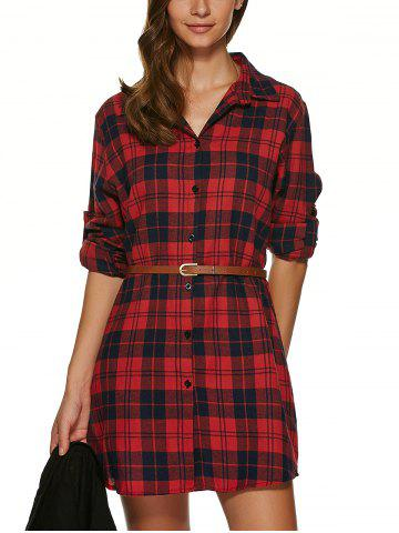 Chic Long Sleeve Plaid Tunic Flannel Shirt Dress
