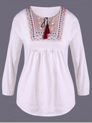 Unique Ethnic Embroidery Loose Blouse WHITE XL