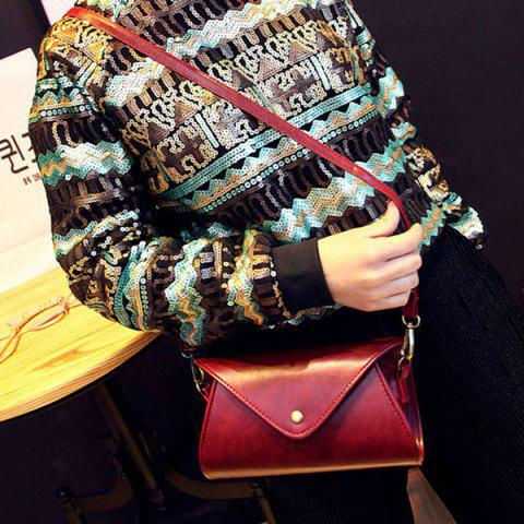 Shops PU Leather Covered Closure Dark Color Crossbody Bag - WINE RED  Mobile
