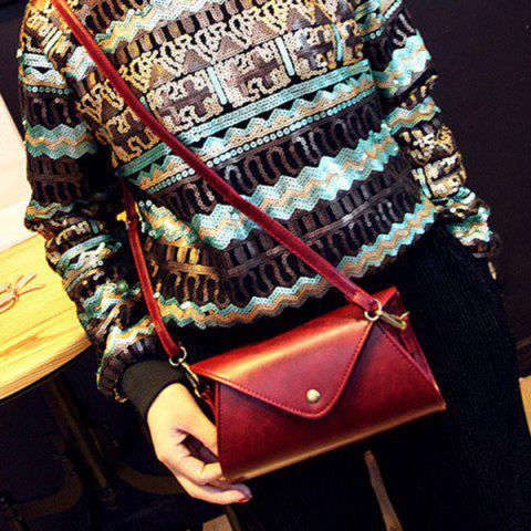 Sale PU Leather Covered Closure Dark Color Crossbody Bag - WINE RED  Mobile