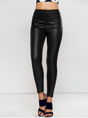 Fashion High Waisted Faux Leather Skinny Leggings - ONE SIZE BLACK Mobile
