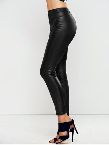 Shops High Waisted Faux Leather Skinny Leggings - ONE SIZE BLACK Mobile