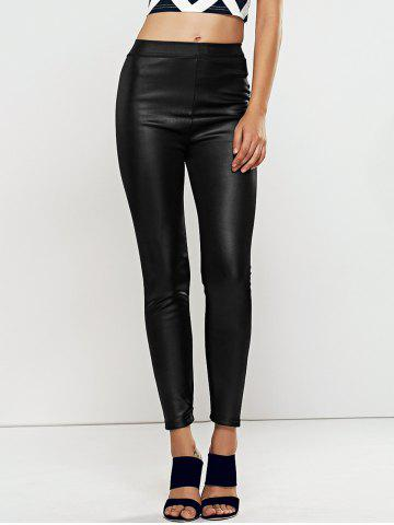 Unique High Waisted Faux Leather Skinny Leggings BLACK ONE SIZE