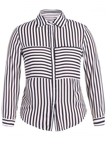 Fancy Plus Size Striped Shirt WHITE 5XL