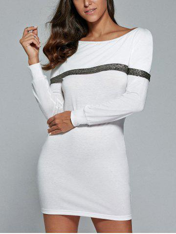 Chic Long Sleeve Mini Tunic Fitted Dress WHITE XL