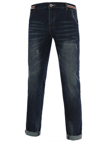 Hot Jeans+Cotton Slimming Straight Leg Embellished Zipper Fly Denim Pants