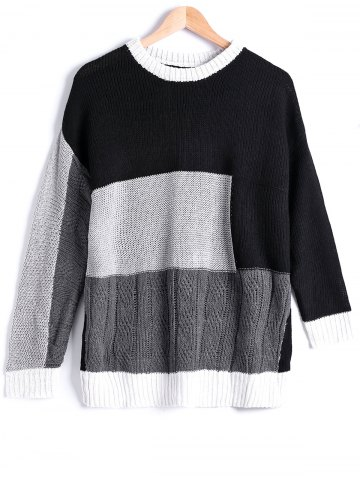 Shops Street Snap Style Color Block Sweater