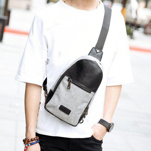 Outfits Stitching Color Block Messenger Bag GRAY