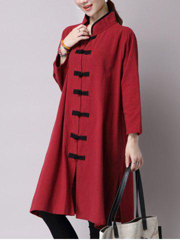 Shop Chinese Style Button Up Slit Loose Long Trench Coat