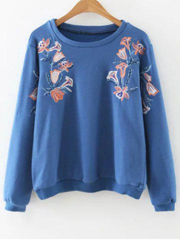 Chic Round Neck Long Sleeve Embroidered Loose Sweatshirt