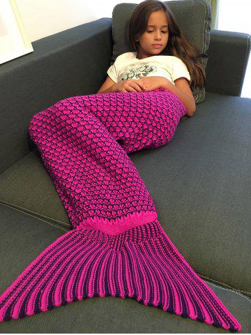 Warmth Ellipse Pattern Crochet Knitting Mermaid Tail Blanket For Kids - ROSE RED - S