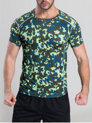 Online Quick-Dry Fitted Camouflage Printed Short Sleeve T-Shirt GREEN XL