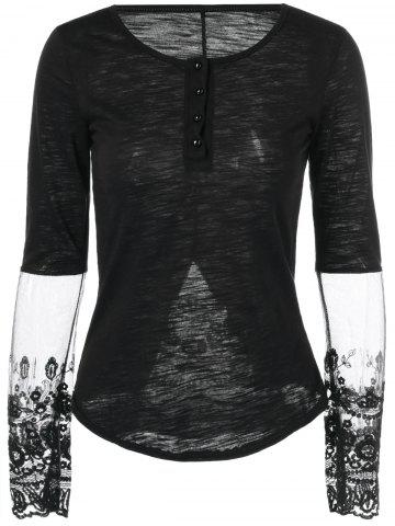 Outfit Furcal Lace Splicing Slimming T-Shirt