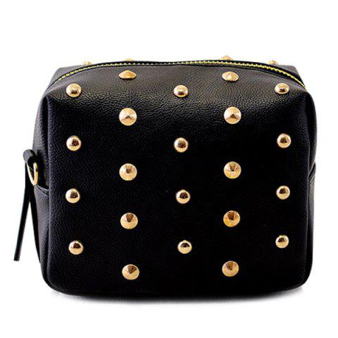 Online Zipper Rivets PU Leather Crossbody Bag BLACK