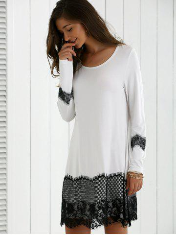 Chic Lace Splicing Spring Casual Long Sleeve Dress - XL WHITE AND BLACK Mobile