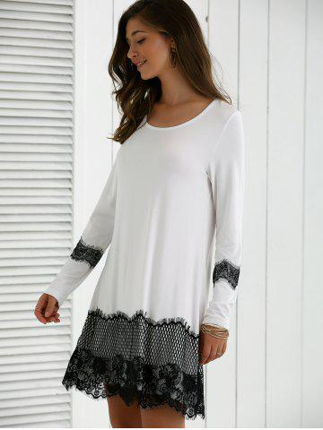 Latest Lace Splicing Spring Casual Long Sleeve Dress - XL WHITE AND BLACK Mobile