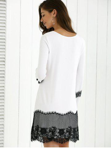 Affordable Lace Splicing Spring Casual Long Sleeve Dress - XL WHITE AND BLACK Mobile