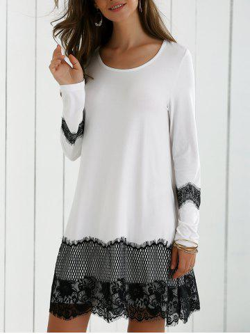 Chic Lace Splicing Spring Casual Long Sleeve Dress WHITE AND BLACK L