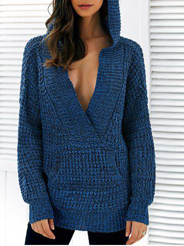 Trendy Pullover Hooded Heathered Sweater DEEP BLUE ONE SIZE