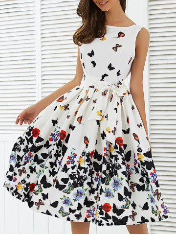 Best Sleeveless Floral Print Self Tie A Line Dress WHITE L