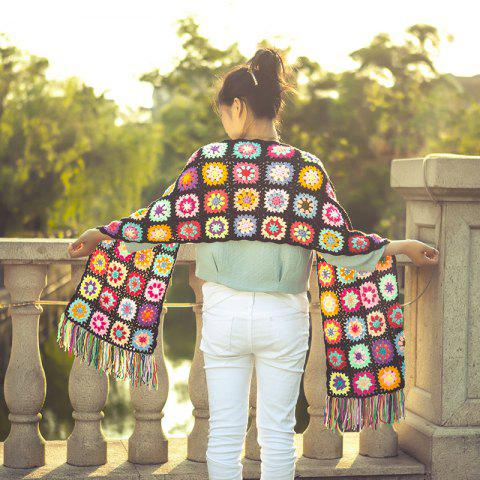 Ethnic Crochet Flower Pattern Tassel Knitted Scarf - Colorful - One Size