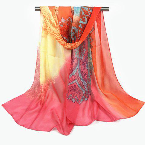 Paisley and Gradient Print Chiffon Scarf - Watermelon Red - 4xl