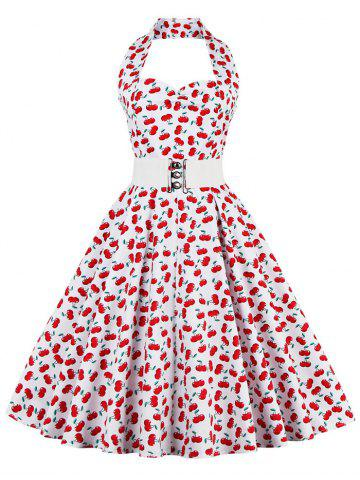 Shop Cherry Print Halter Vintage A Line Dress RED M