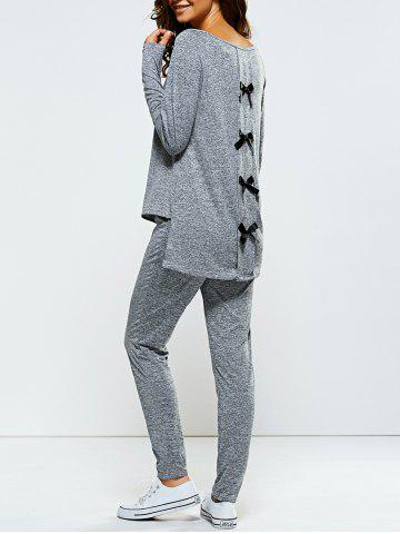 Buy Bowknot Embellished Asymmetrical Sports Suit - L GRAY Mobile