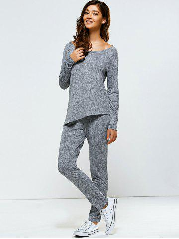 Hot Bowknot Embellished Asymmetrical Sports Suit - L GRAY Mobile